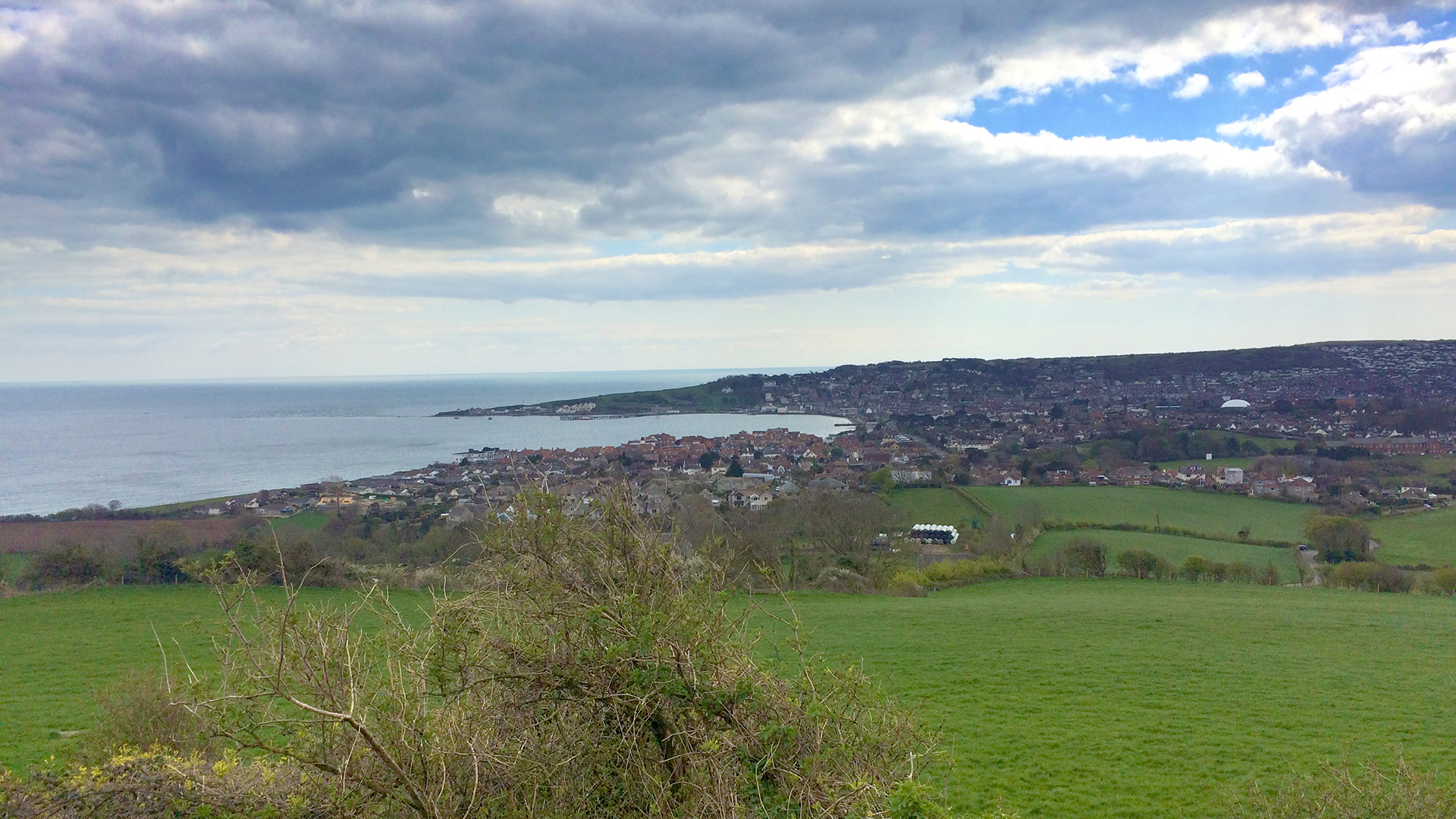 Looking our across Swanage in Dorset