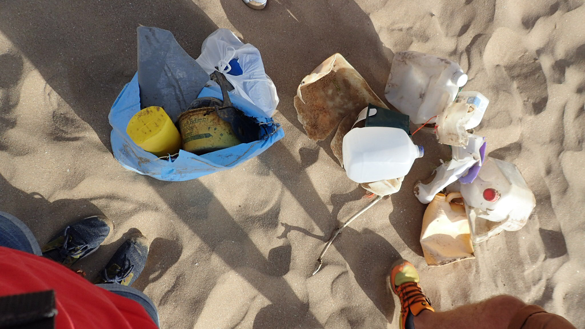 The collection of plastic picked up between Putsborough and Woolacombe