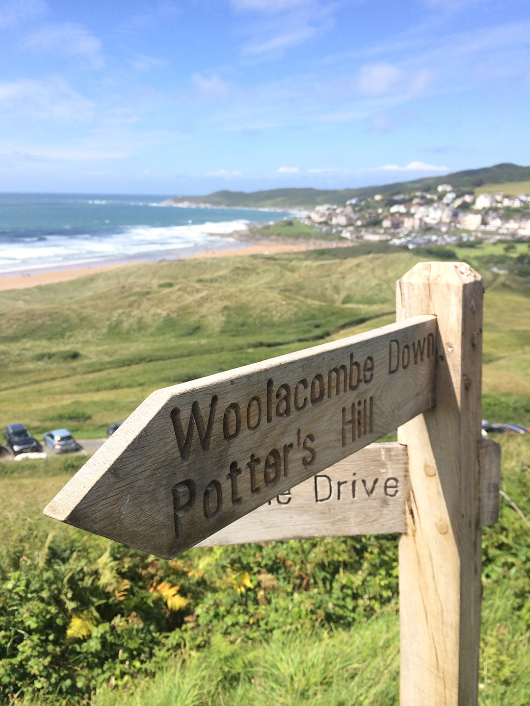 The path climbing Potter's Hill, looking back towards Woolacombe