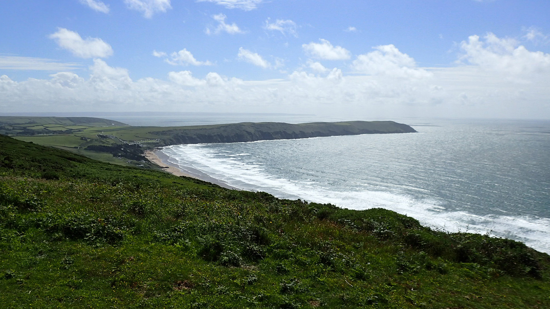 Looking over towards Putsborough and beyond. Hartland Point being in the very far distance
